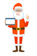 Victory! Santa Claus holding tablet PC and showing victory hand sign or quotes hand sign. Two fingers up.