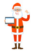 Santa Claus holding tablet and showing biceps