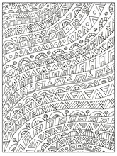 Hand Drawn Uncolored Geometric...
