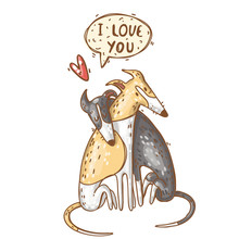 Two Whippets In Love