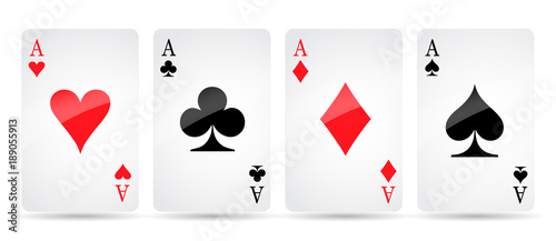 Photo  Ace card suit icon vector, playing cards symbols vector, set icon symbol suit, c