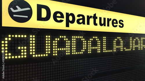 Flight to Guadalajara on international airport departures board. Travelling to Mexico conceptual 3D rendering