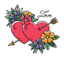 Tattoo Heart With Arrow. Two H...