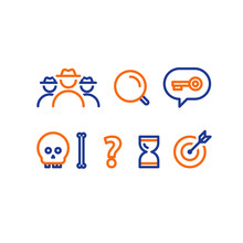 Quest Game Concept Line Icons,...