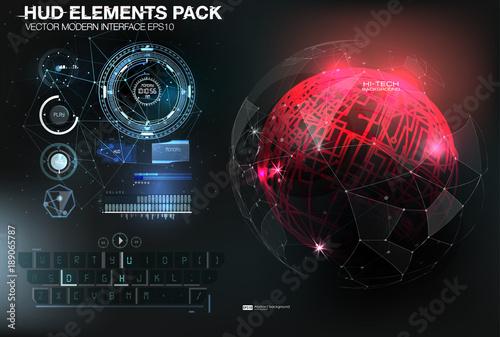 Fotografía  UI hud infographic interface web elements