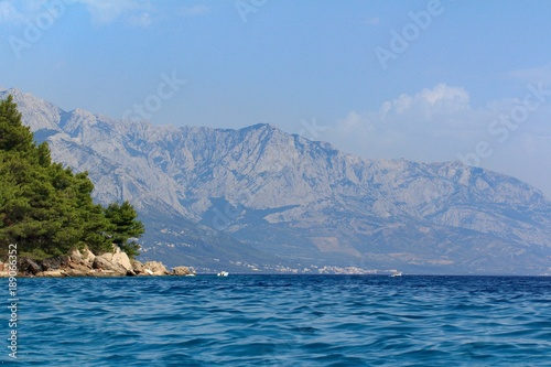 Fotobehang Oceanië Beautiful view of the Adriatic Sea in Croatia in southern Dalmatia with mountains in the background