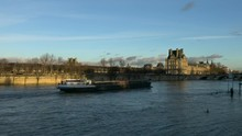 Paris,France-January 19,2018:View Of The Saine River From Quai Anatole France Near The Orsay Museum