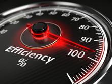 Efficiency Concept - Efficiency Level Meter Indicate 100 %. 3d Rendering