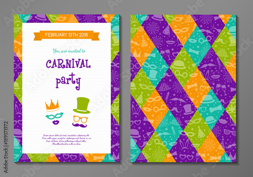 Fotografia Carnival Party - concept of card with funny costumes