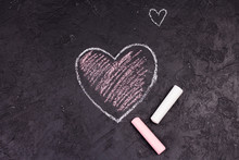Chalk Drawing Of Pink Heart On...