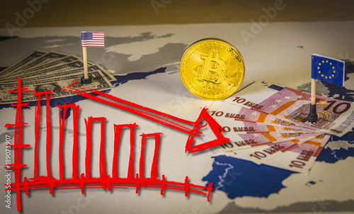 Fotografía  Financial bear market falling concept with bitcoin between United States and Eur