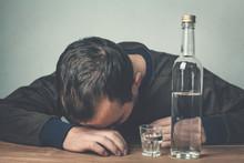 Caucasian Alcoholic Man With Vodka.
