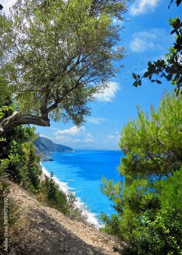 Spoed Foto op Canvas Nieuw Zeeland Lefkada, Greece, Efgremi beach
