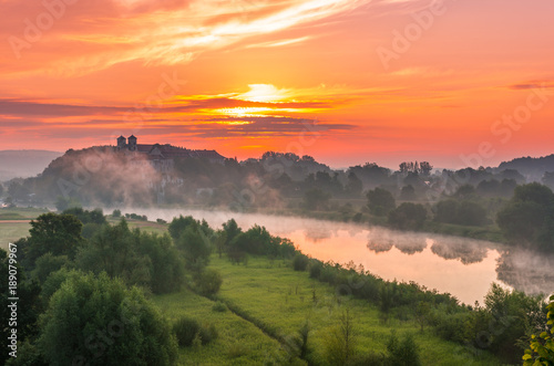 Deurstickers Koraal Colorful morning landscape in the morning, Poland, Tyniec near Krakow