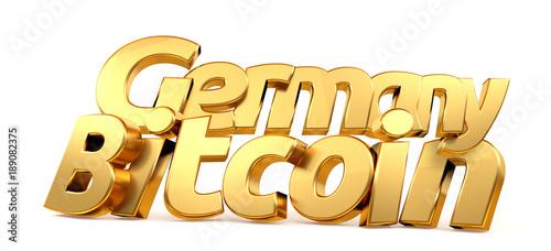Fototapeta golden 3d rendering Bitcoin Germany isolated bold letters obraz na płótnie