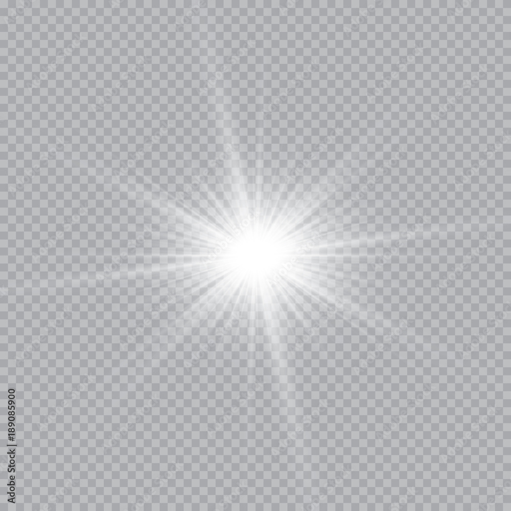 Fototapeta Set of golden glowing lights effects isolated on transparent background. Sun flash with rays and spotlight. Glow light effect. Star burst with sparkles.