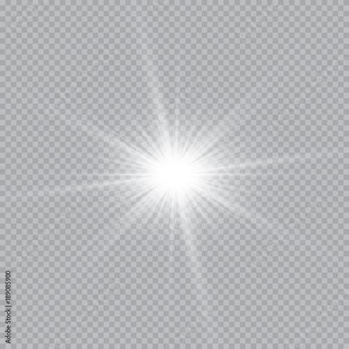 Obraz Set of golden glowing lights effects isolated on transparent background. Sun flash with rays and spotlight. Glow light effect. Star burst with sparkles. - fototapety do salonu