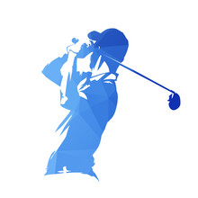 Golf Player, Abstract Blue Geo...