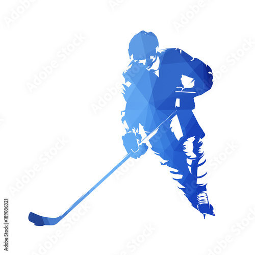 Skating ice hockey player, abstract blue geometric vector silhouette. Front view