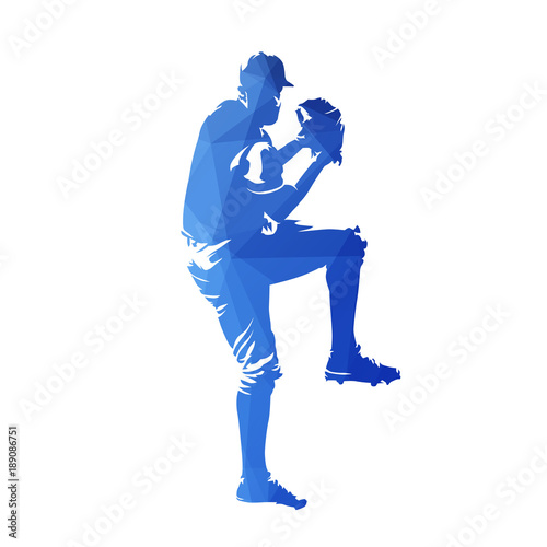 Fotografie, Obraz  Baseball player throwing ball, blue geometric isolated vector silhouette