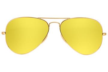 Aviator yellow sunglasses isolated