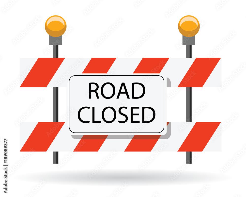 Fototapeta road closed, road barrier