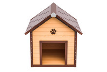 Wooden Doghouse Front View, 3D...