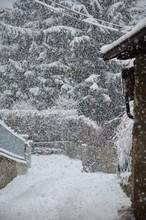 Intensa Nevicata Nel Borgo Alpino