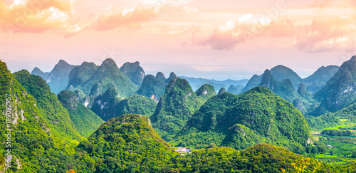 Fotografie, Tablou Panoramic view of landscape with karst peaks around Yangshuo County and Li River, Guangxi Province, China