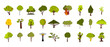 Tree icon set, flat style