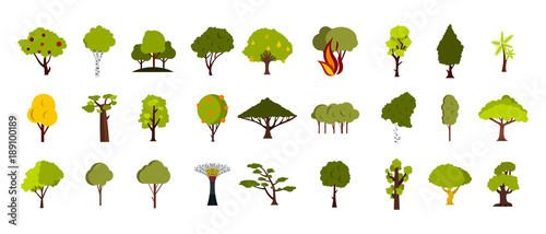 Tree icon set, flat style Canvas Print