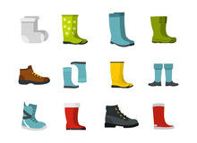 Boots Icon Set, Flat Style