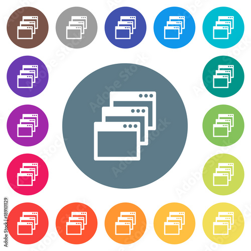 Fototapety, obrazy: Cascade window view mode flat white icons on round color backgrounds