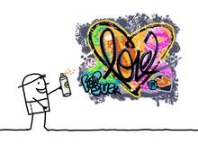 Cartoon Man Designing A Graffi...