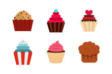 Cupcake Icon Set, Flat Style