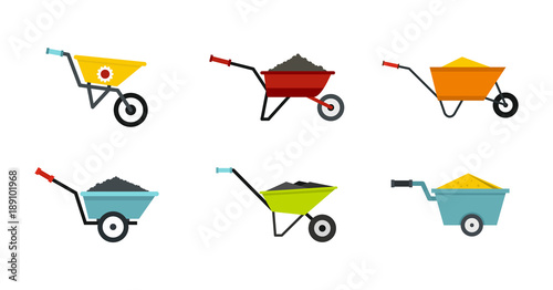 Photo One wheel barrow icon set, flat style
