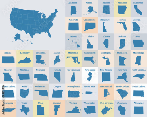 Fototapeta Outline map of the United States of America. States of the USA. Vector. obraz
