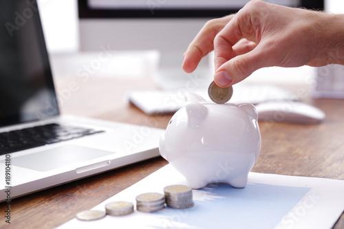 Fototapeta Geld sparen, Sparschwein  obraz