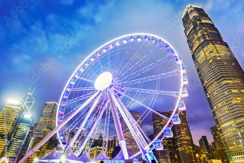 Hong Kong Observation Wheel at night Poster
