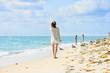 Miami Beach, peaple are walking. Located in Miami, Florida, USA.