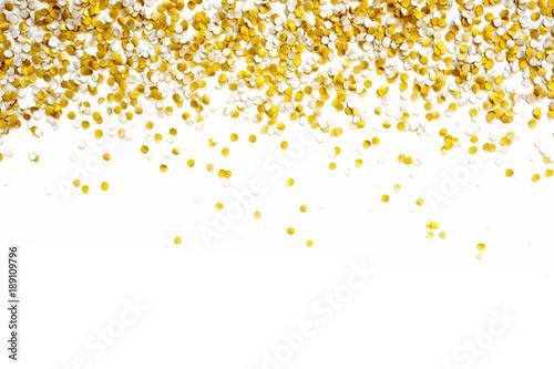 Obraz Golden shiny confetti on a white background. - fototapety do salonu