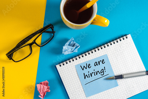 Fotografía  WE'RE HIRING CONCEPT at Human Resources Manager workplace