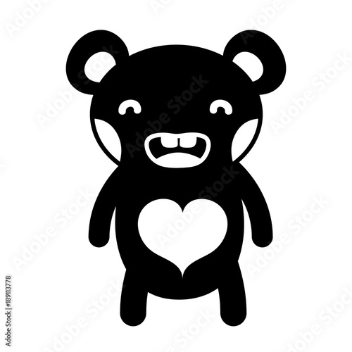 silhouette smile bear cute wild animal #189113778