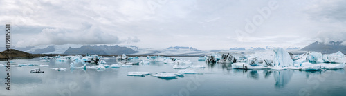 Jökulsárlón glacier lagoon in Iceland panorama during an overcast day - 189115511