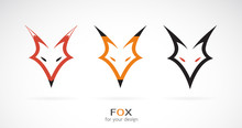 Vector Of A Fox Head Design On A White Background. Wild Animals. Easy Editable Layered Vector Illustration.