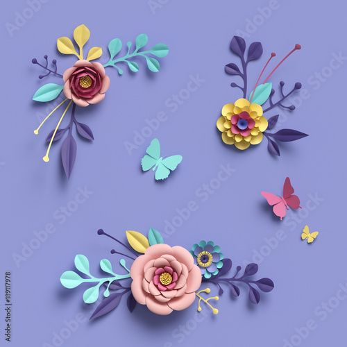 3d Rendering Abstract Floral Background Paper Flowers Botanical