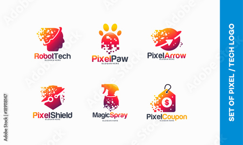 Set Of Pixel Tech Logo Designs Concept Robotic Tech Logo Pixel Paw
