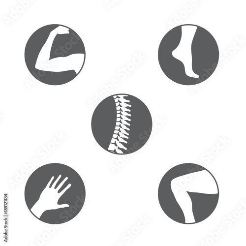 Fotografía  Orthopedics Bone Sports Injury Icons Set of orthopedics icons with Spine, knee,