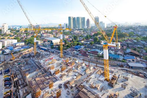 Foto op Plexiglas construction site in midtown of modern city