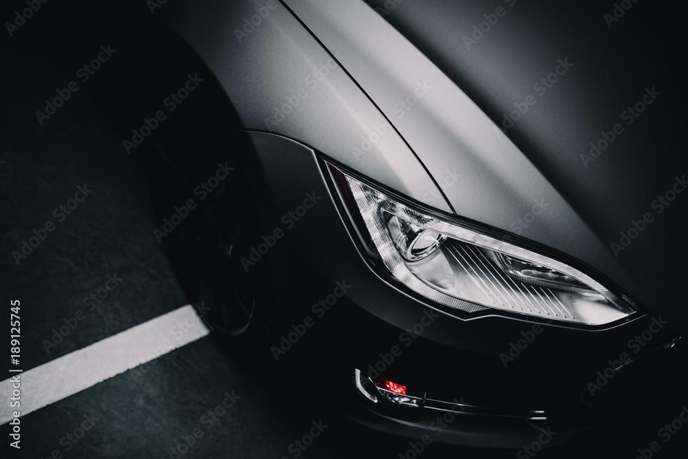 Fototapety, obrazy: Modern car wrapped in grey color matte vinyl